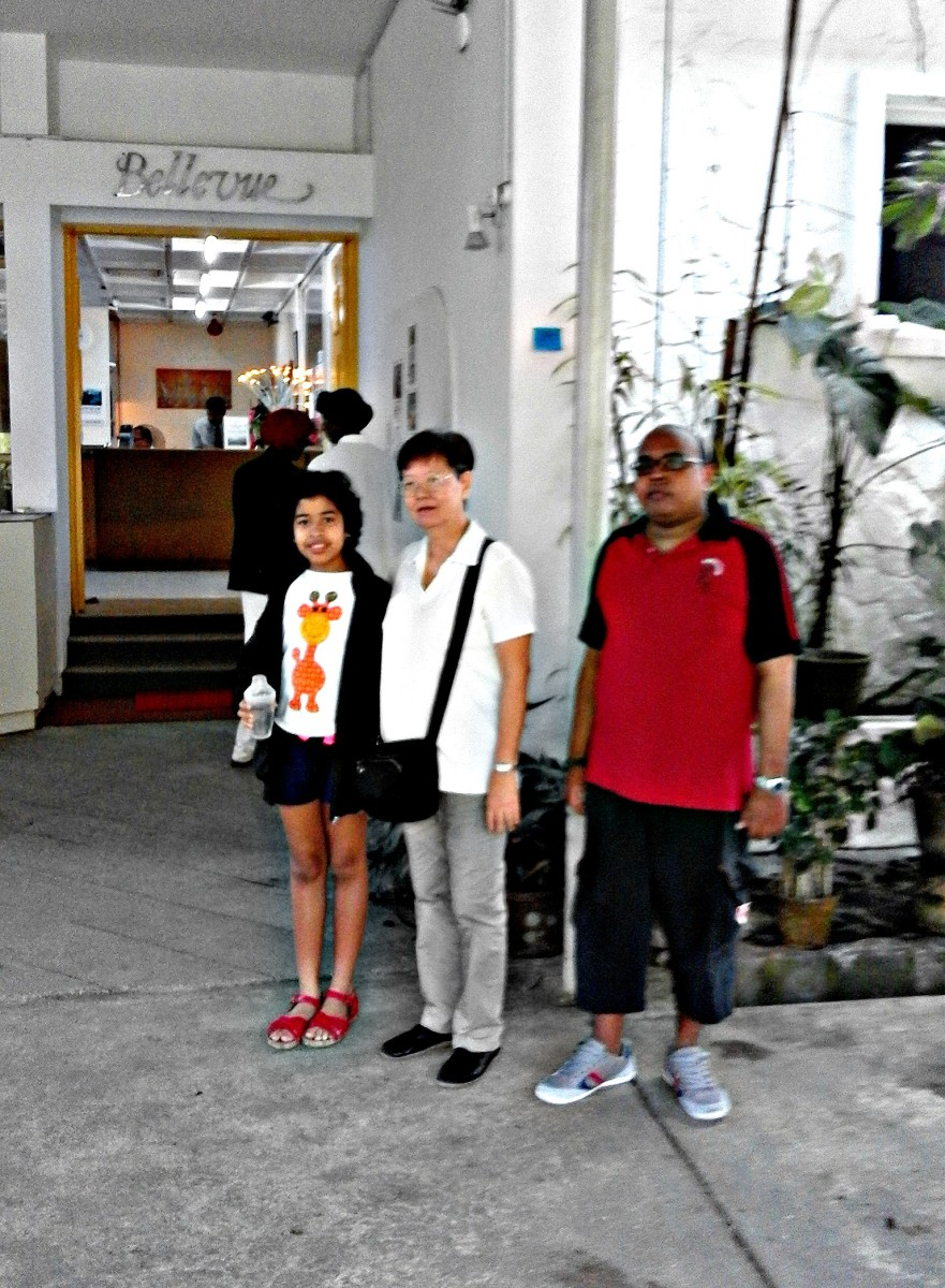 Bellvue or the Penang Hill Hotel.  Old structure intact. (From left, my granddaughter, my wife and my son.)