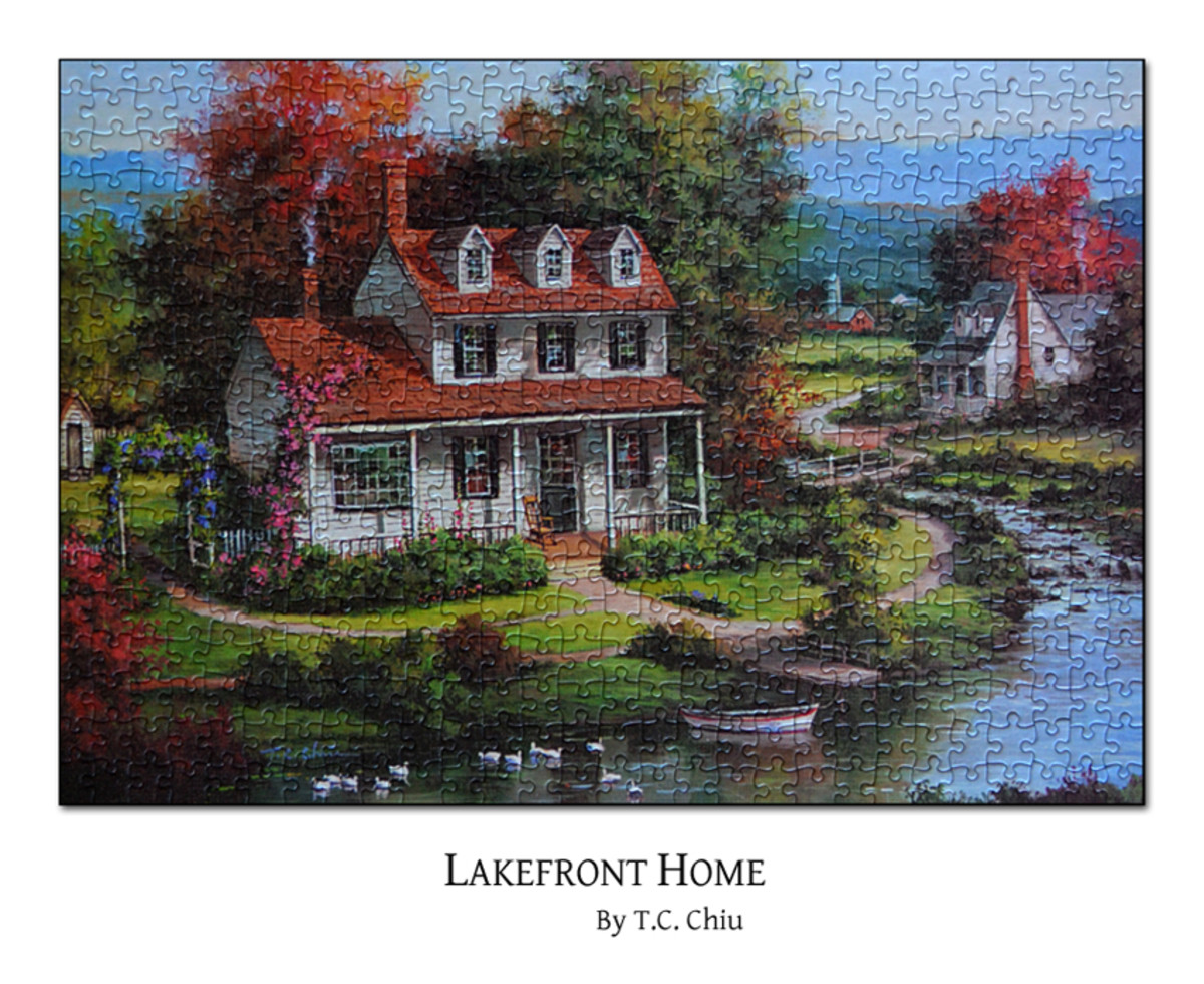 'Lakefront Home' a jigsaw puzzle from a collection by renowned artist C.T.Chiu