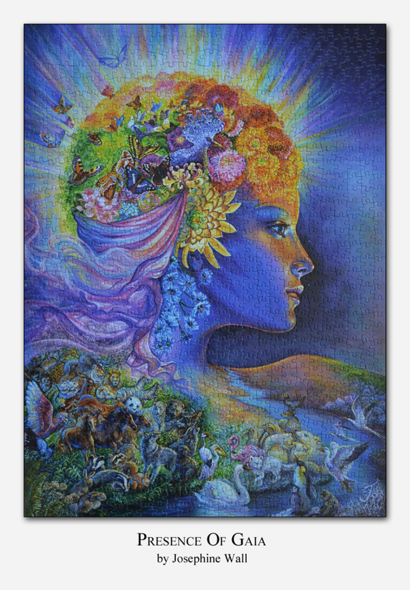 "A jigsaw puzzle titled ""Presence of Gaia"" from the art work created by Josephine Wall"