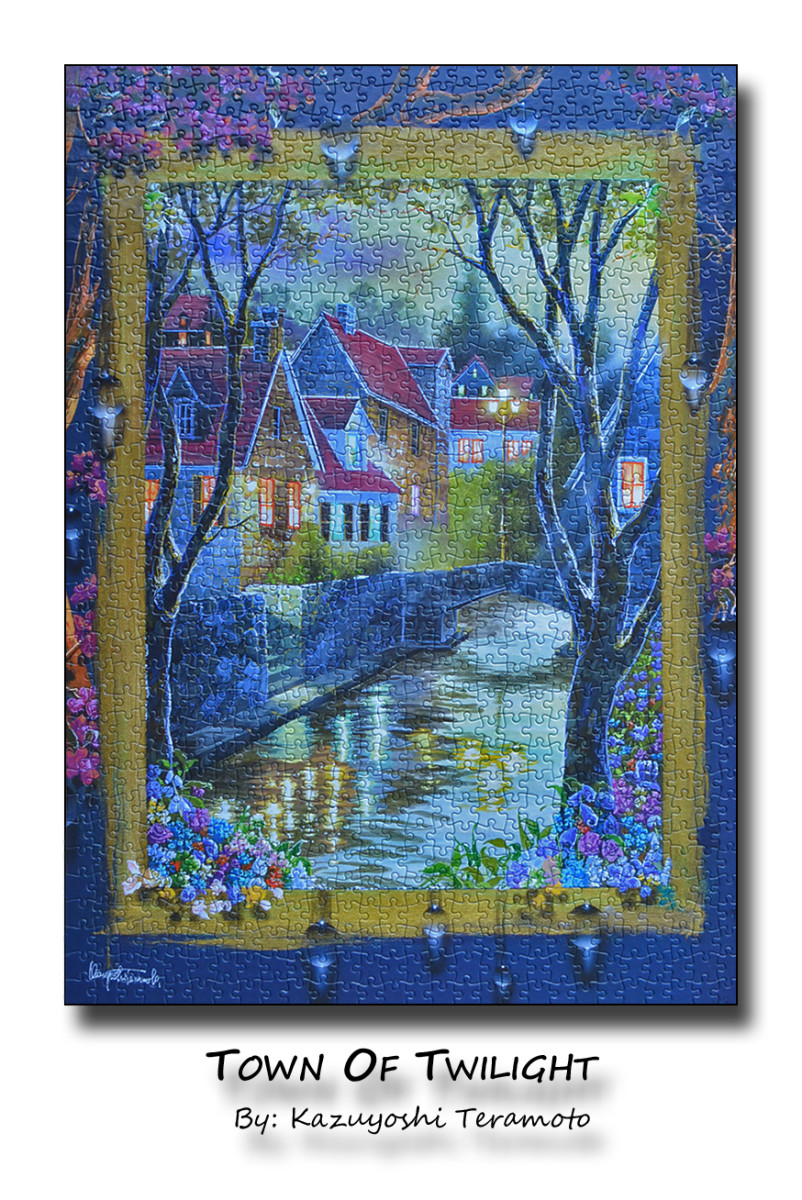 "A jigsaw puzzle depicting a painting called ""Town of Twilight"" created by artist Kazuyoshi Teramoto"
