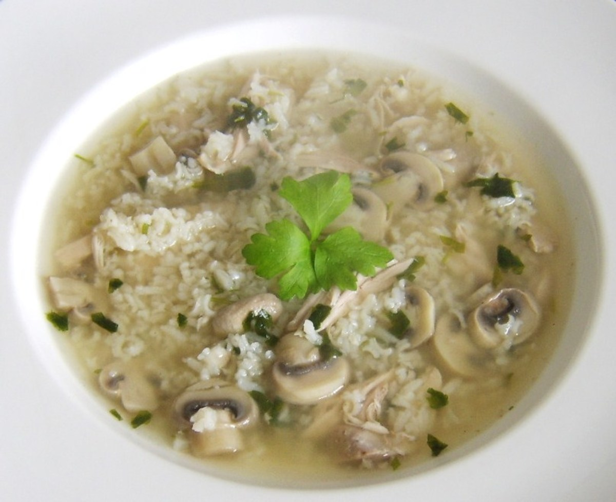 This quick and easy soup recipe is a great way of using fresh chicken stock to prepare a further meal