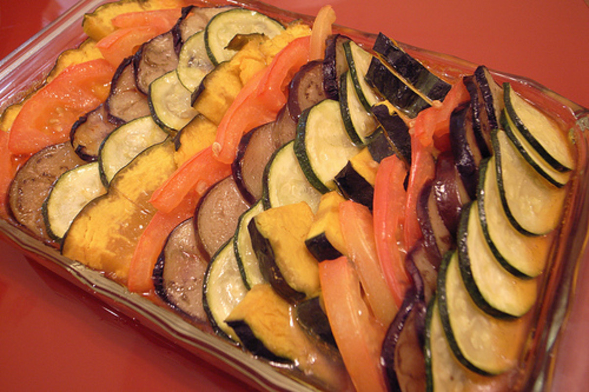 A neatly presented dish of ratatouille.