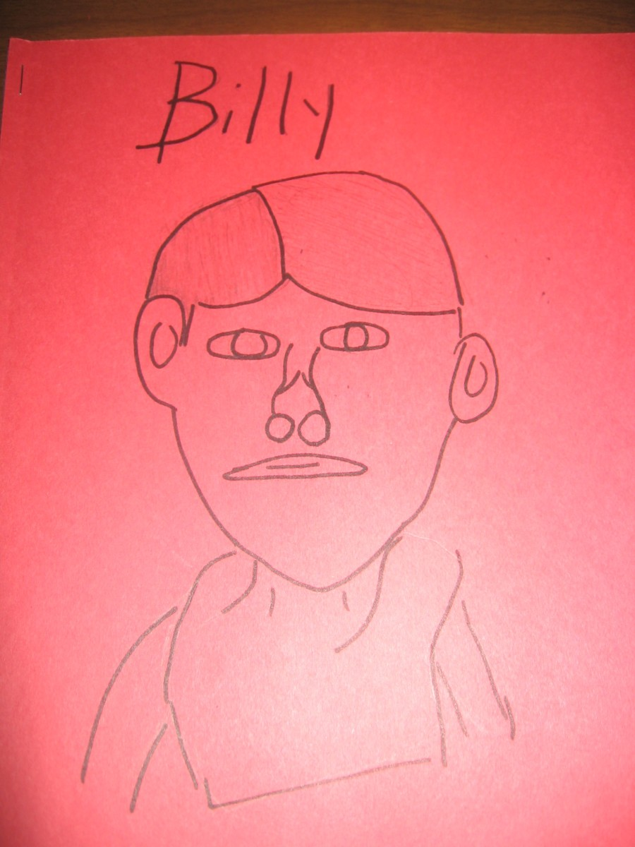 "A child's drawing of Billy in ""Where the Red Fern Grows"""