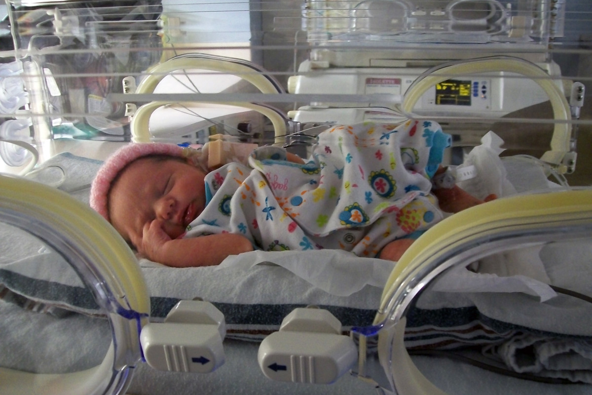 Our daughter in her incubator.
