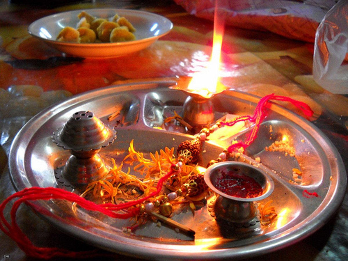 rakhi thali with diya (lamp), roli (red tilak in the cup), rakhi or mouli, sweets in another plate far end, incense stand, flowers