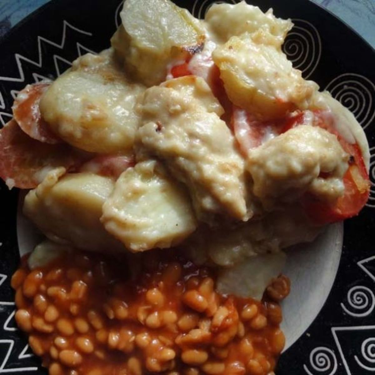 Served with baked beans