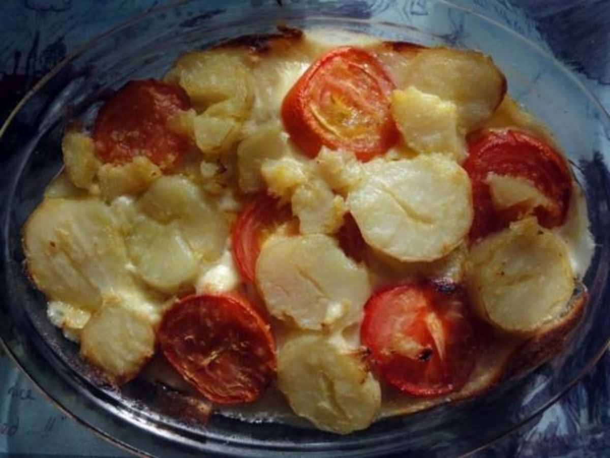 Tomato and Potato pie fresh from the oven