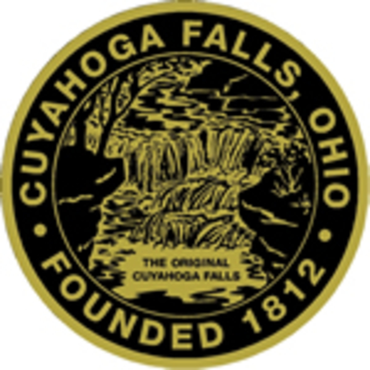 The Great Seal of the city of Cuyahoga Falls, designed by one of my classmates in 1972.