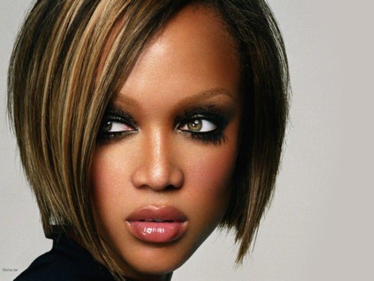 Tyra Banks' Mod Bob Hairstyle. Bob Hairstyles for Black Women.