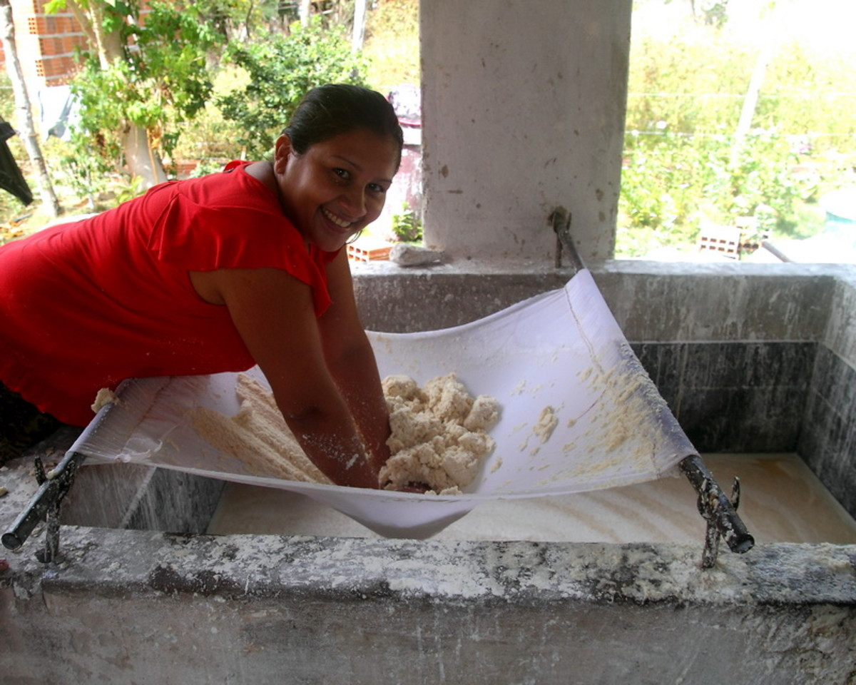 Pressing liquid out of grated cassava root