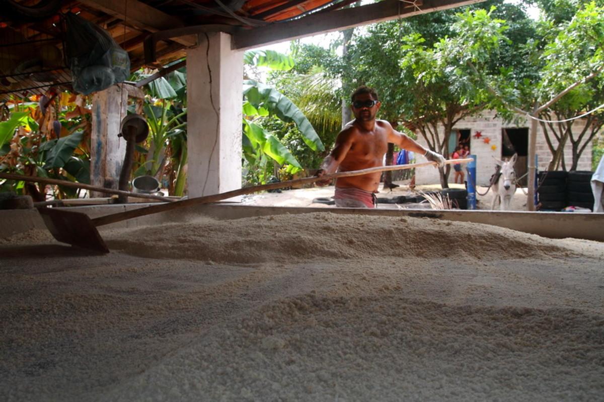 Heating the cassava