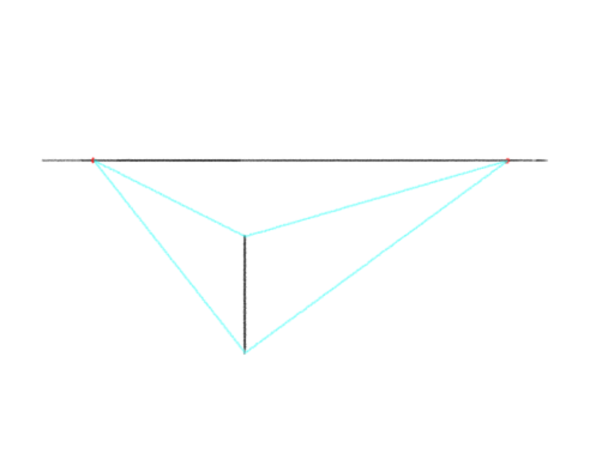 Now the orthogonal lines converge to different vanishing points