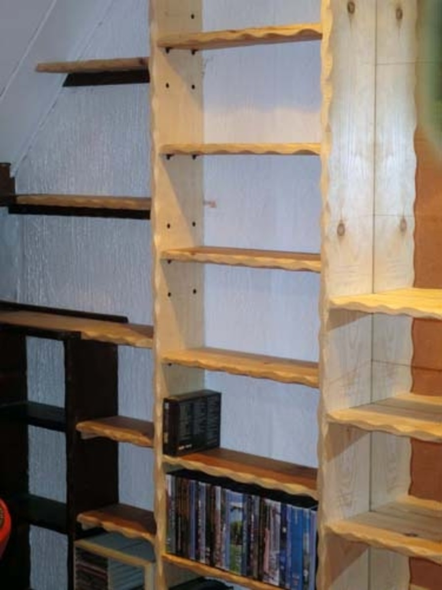 Adjustable shelves with hewn effect.