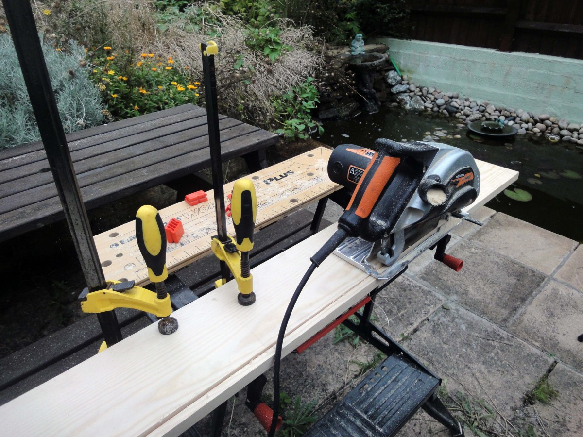 Using my Evolution Rage circular saw to cut the wood to the correct width.