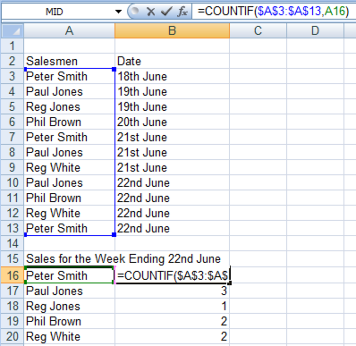 Example of a COUNTIF formula created in Excel 2007 and Excel 2010.