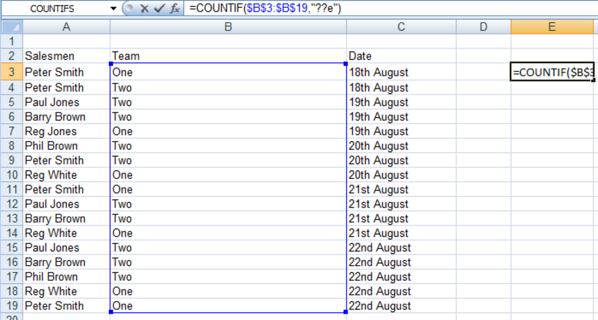 An example of how to use wildcards in a COUNTIF formula in Excel 2007 and Excel 2010.