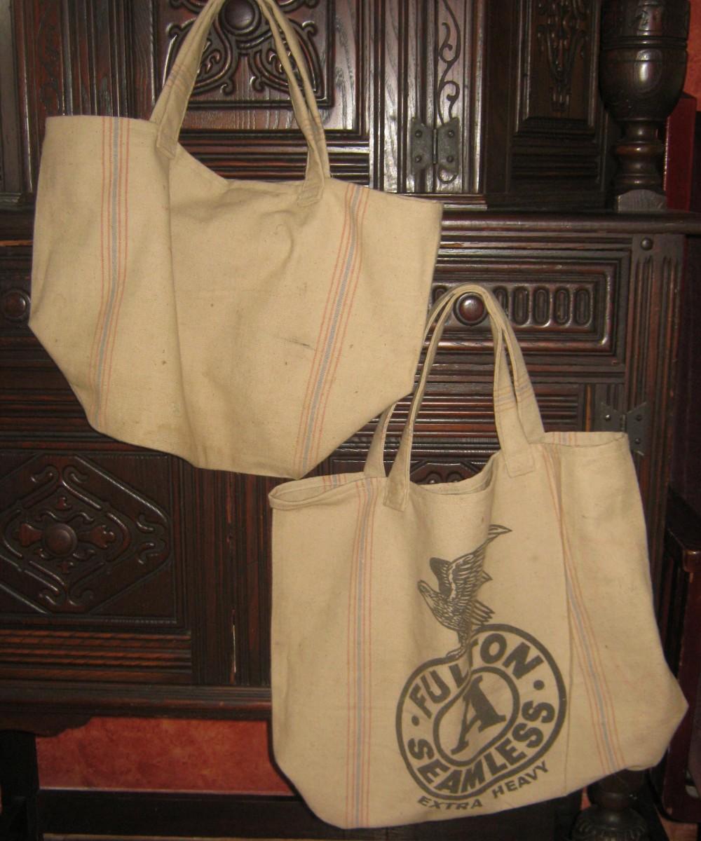 Grain sack tote bags