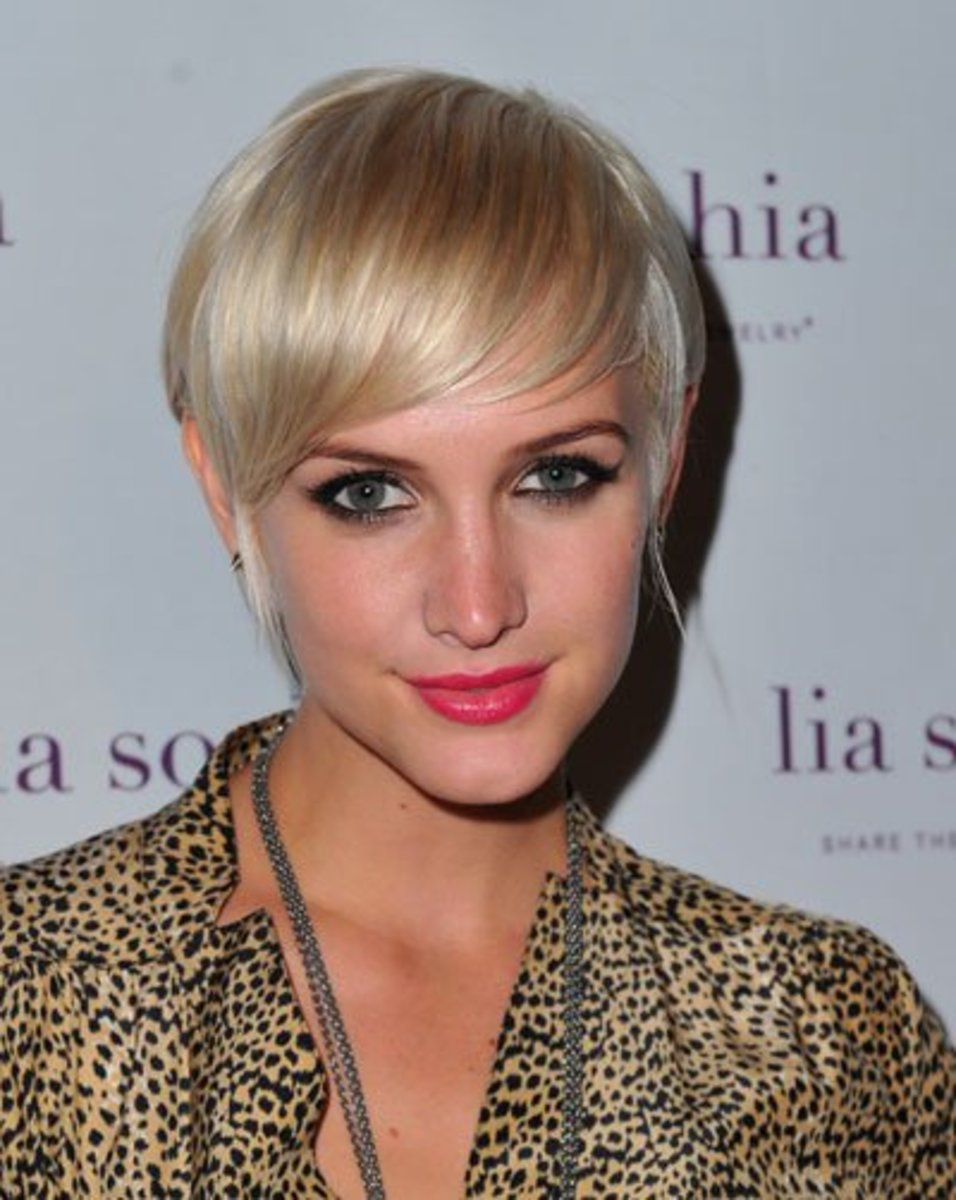 Ashlee Simpson in a Pixie Cut with Long Bangs