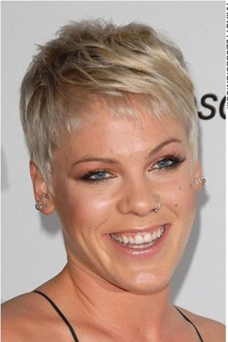 Singer Pink in a pixie haircut, a perfect hairstyle for a tough chick.