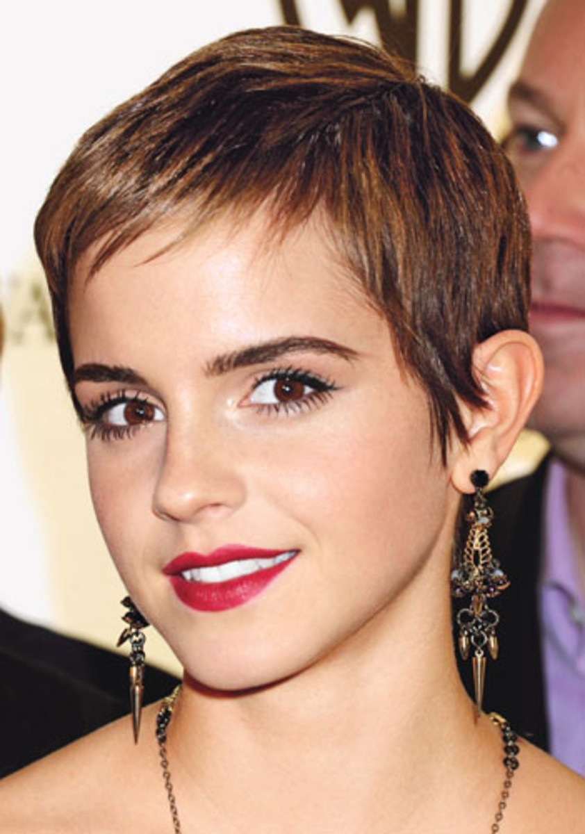 Emma Watson with an old-fashioned pixie haircut