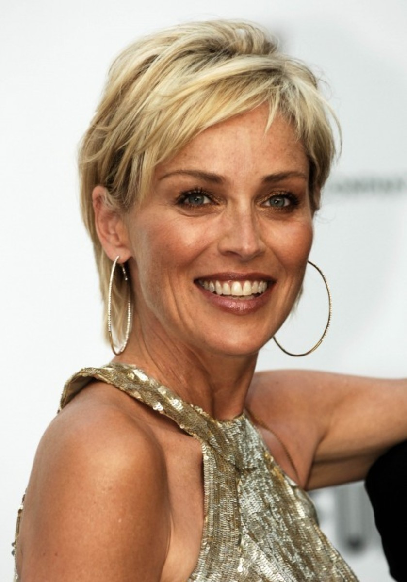 Sharon Stone with a Pixie Hairstyle. Celebrity pixie haircuts.