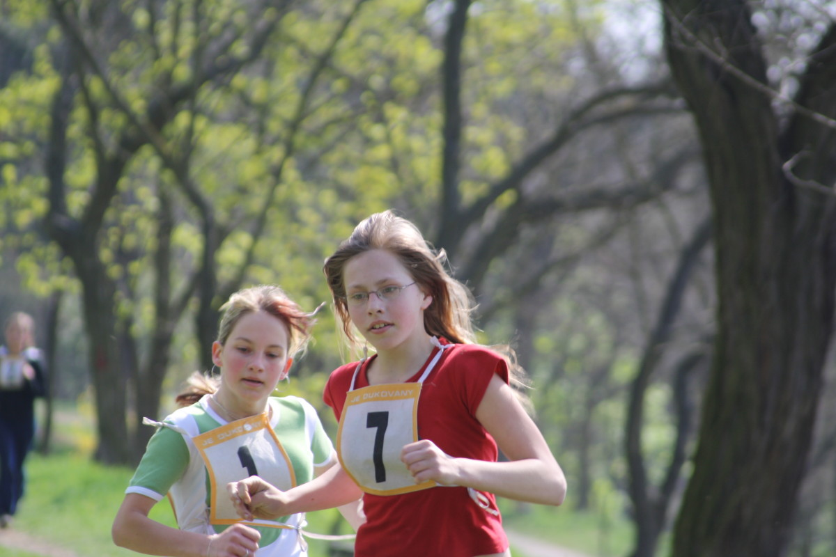 Girls running a cross country race