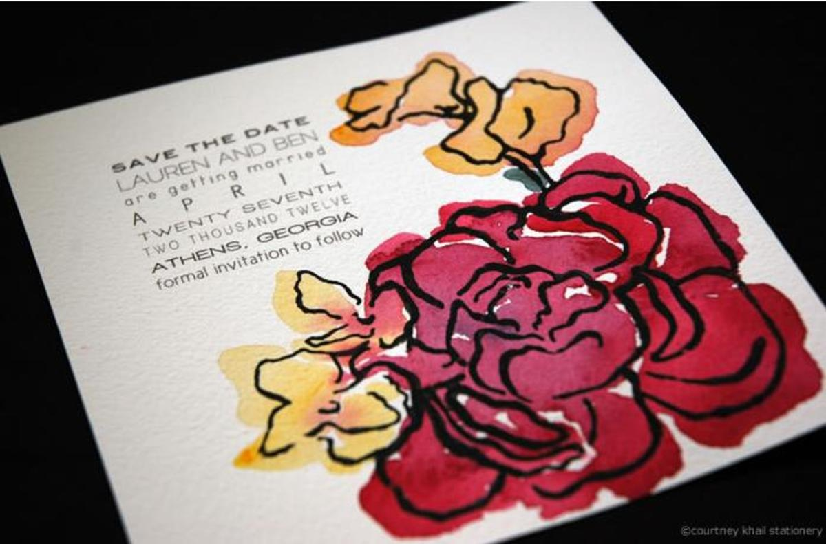 Artist designed wedding invitation watercolor to represent stained glass