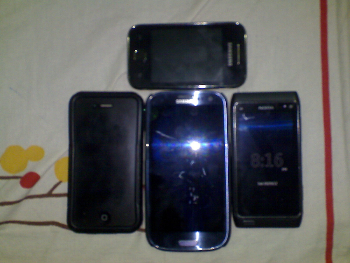 The iPhone 4S The Samsung Galaxy S3 The Nokia N8 and the Galaxy Y