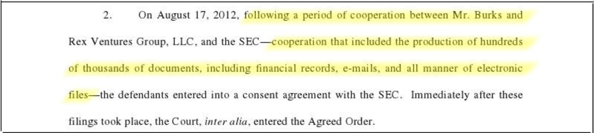 Motion by Burks' attorney suggesting Burks have cooperated with SEC without telling any one.