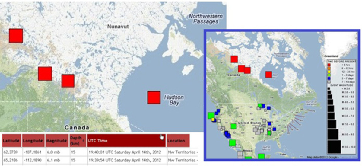 Four Huge Earthquakes in Canada this year were quickly removed from the USGS website, which begs the question WHY?