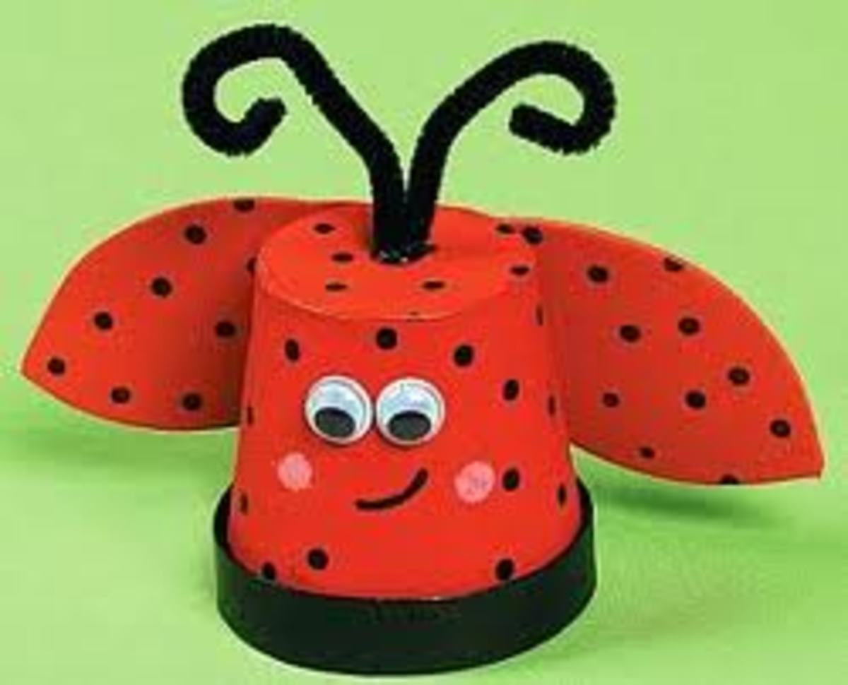 CUTE VALENTINE'S DAY FLOWER-POT BUG - JUST ADD PAINT, GOOGLE EYES, CARDBOARD OR CONSTRUCTION PAPER AND PIPE-CLEANERS