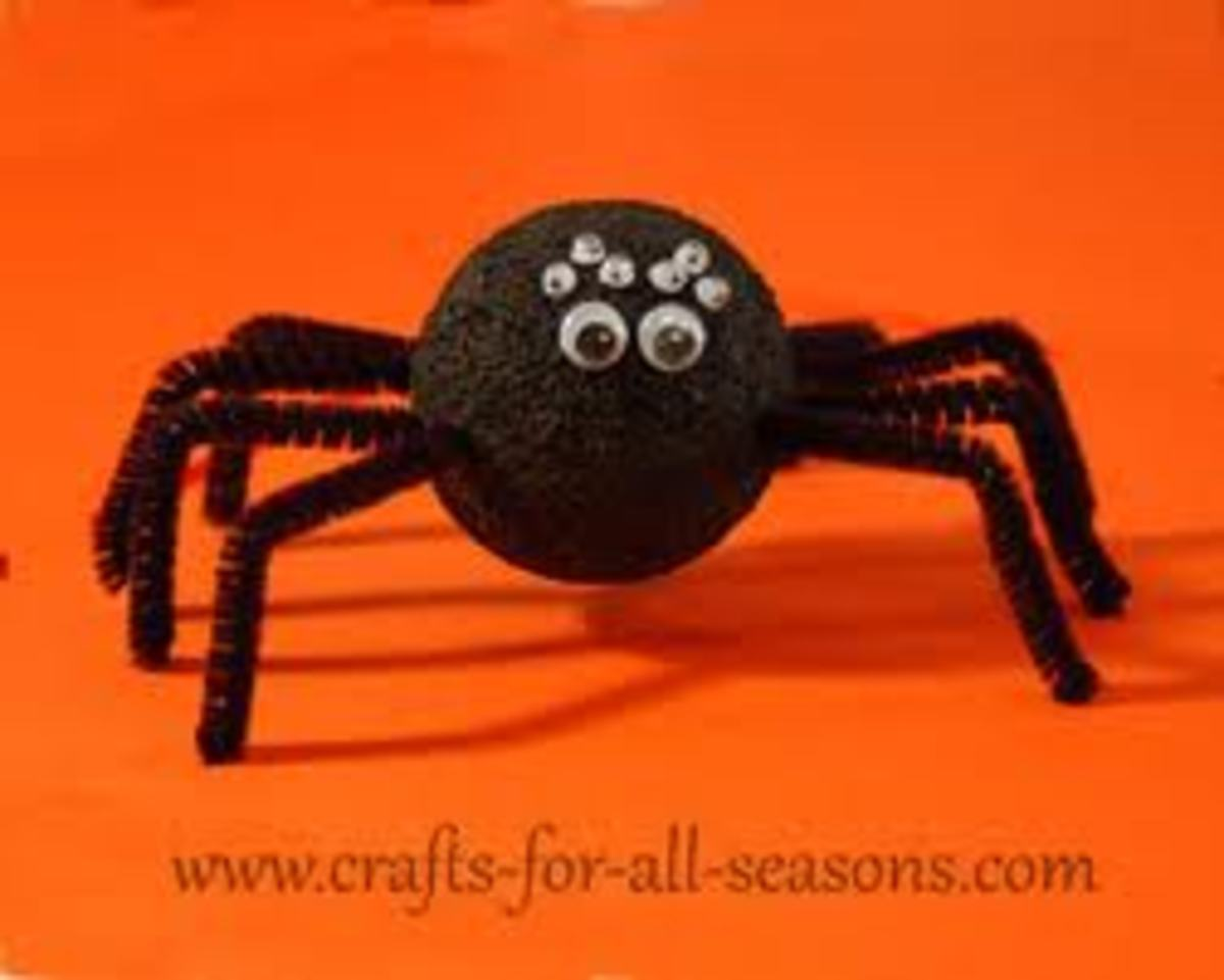 SCARY STYROFOAM SPIDER!  JUST ADD PIPE-CLEANERS AND DIFFERENT SIZE GOOGLE EYES!