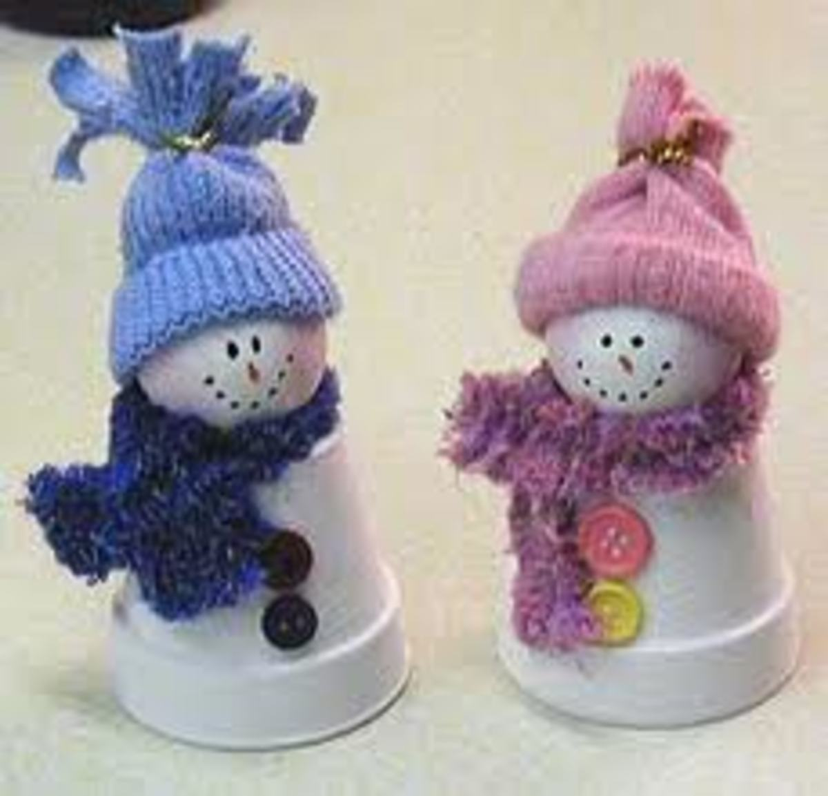 FLOWER-POT SNOWFOLK WITH STYROFOAM BALL HEADS!  MIXED MEDIA - ADDING MATERIAL AND BUTTONS