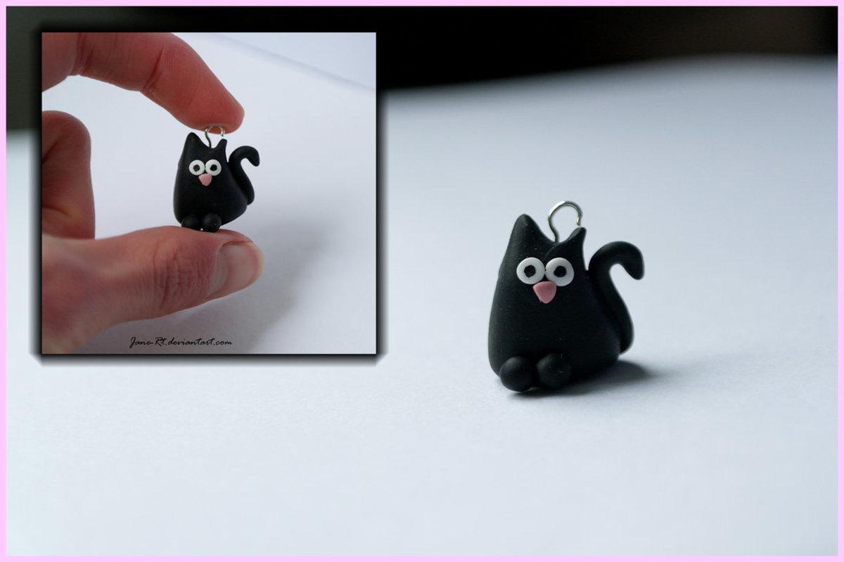 POLYMER CLAY BLACK CAT CHARM