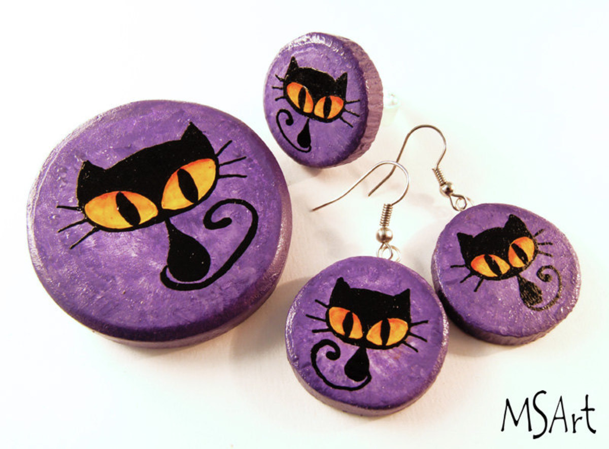 CUTE BLACK CAT HALLOWEEN JEWELRY