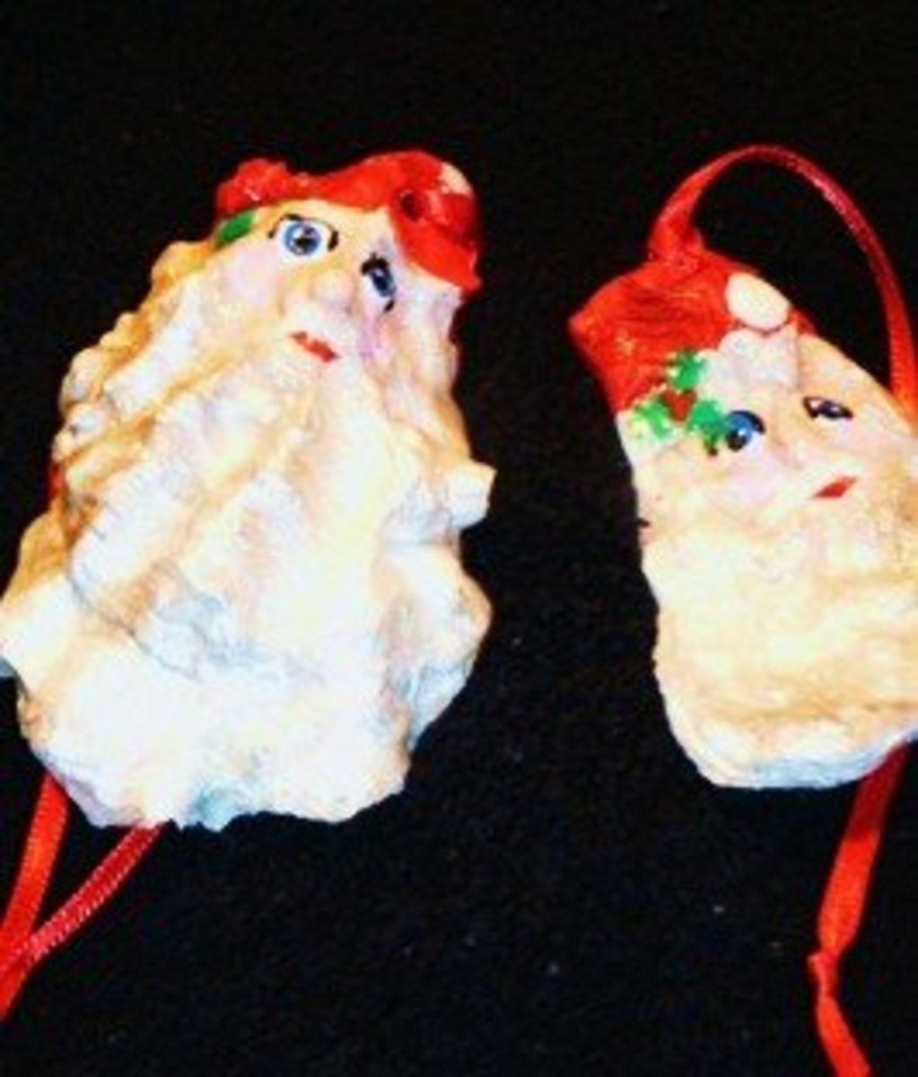 Santa Claus oyster shell ornaments are fun, easy, and inexpensive.