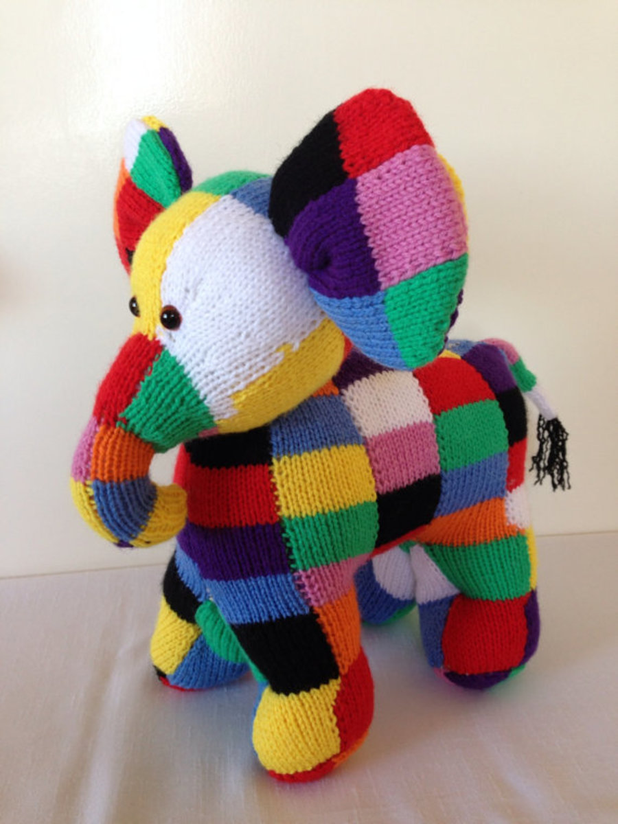 Hand-Knitted Elmer the Elephant