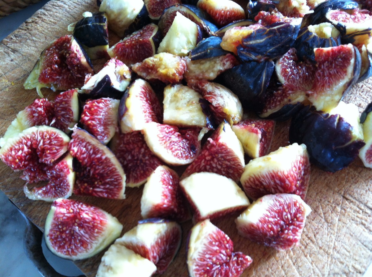 Cooking with figs.  Chopped first.  Leave some of the skin on.