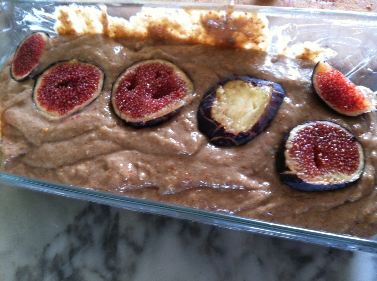Place sliced figs on the top, before baking