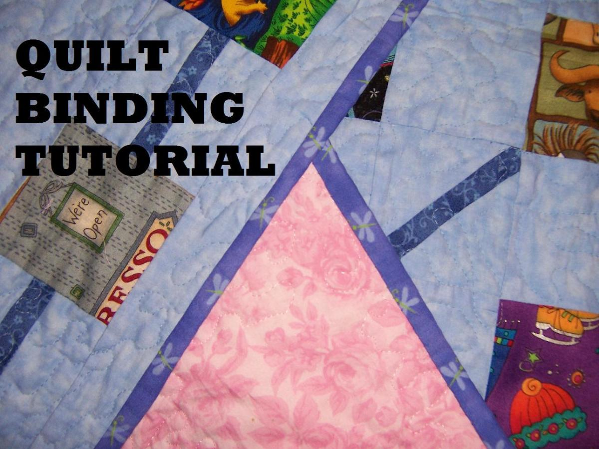 Instructions on how to make a double fold binding, including mitered corners, and hand sewing video.