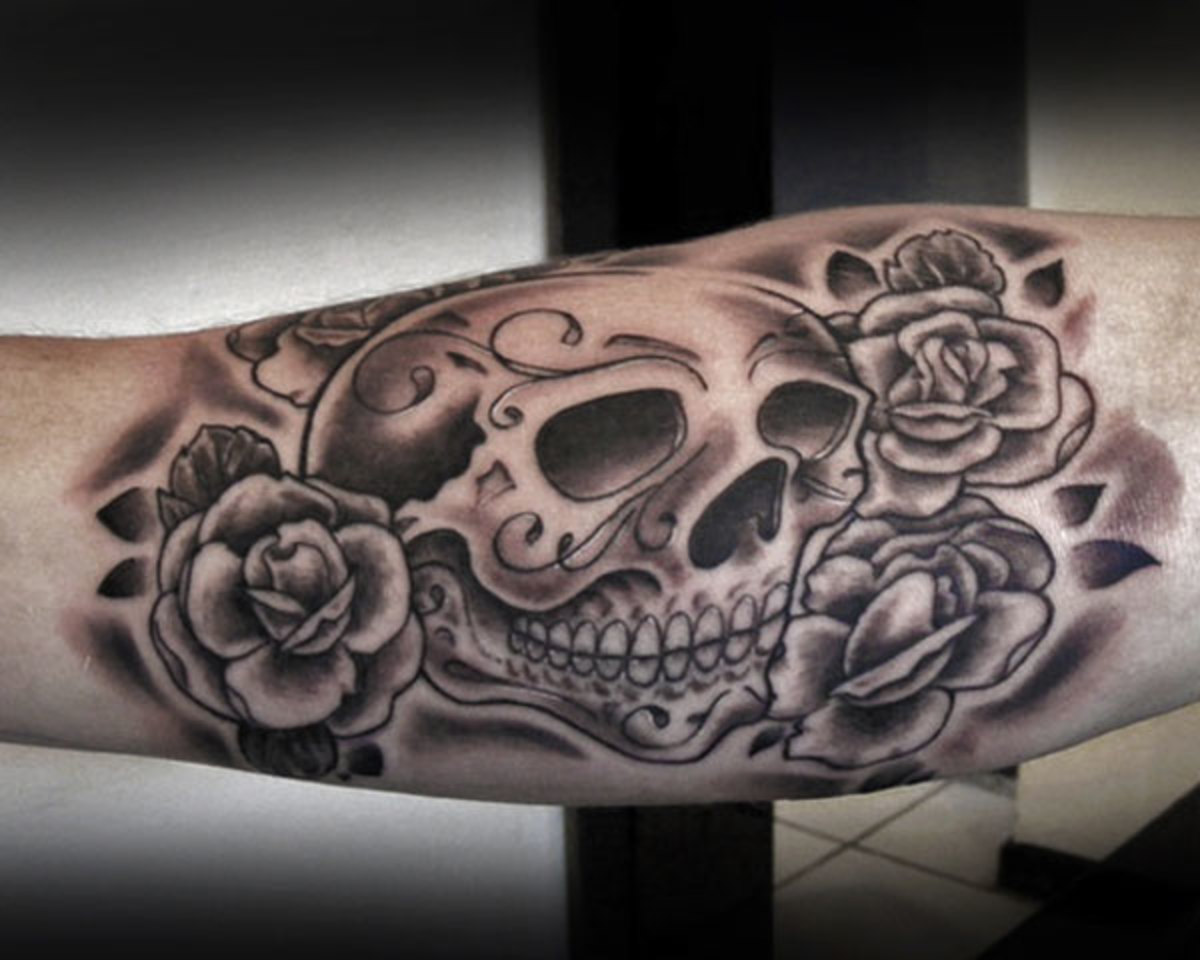 Black Rose tattoo with Skull