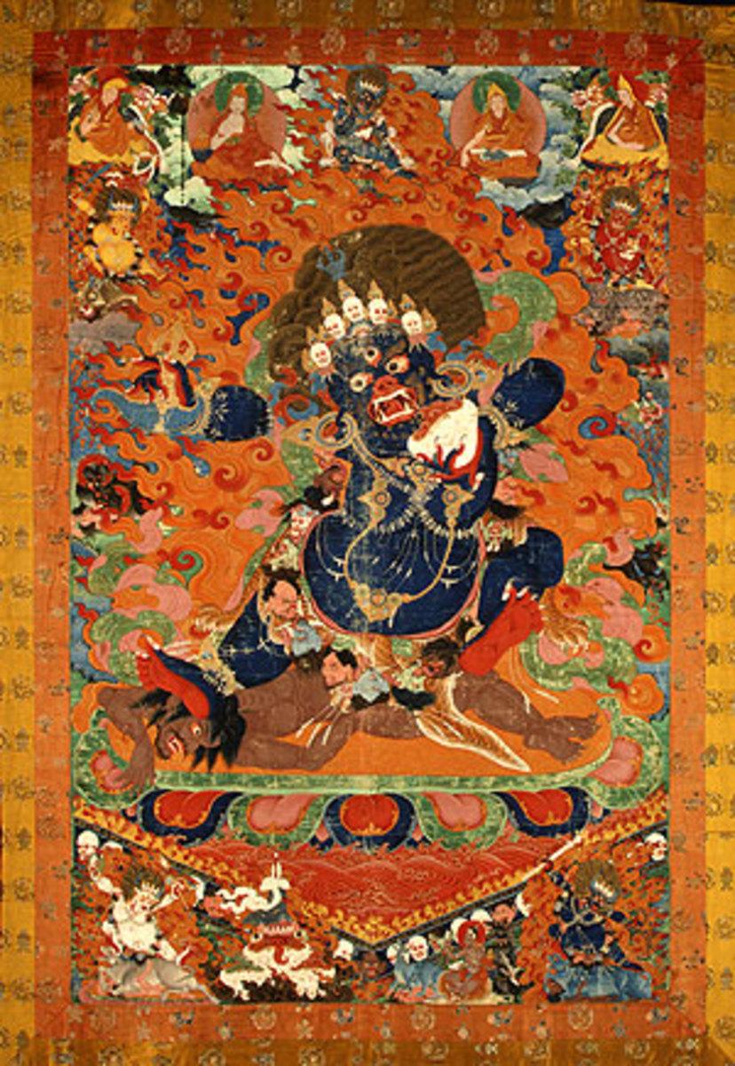 Scroll painting of Yama , via Wikimedia Commons