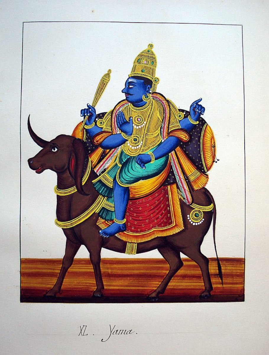 Yama riding a buffalo.  via Wikimedia Commons