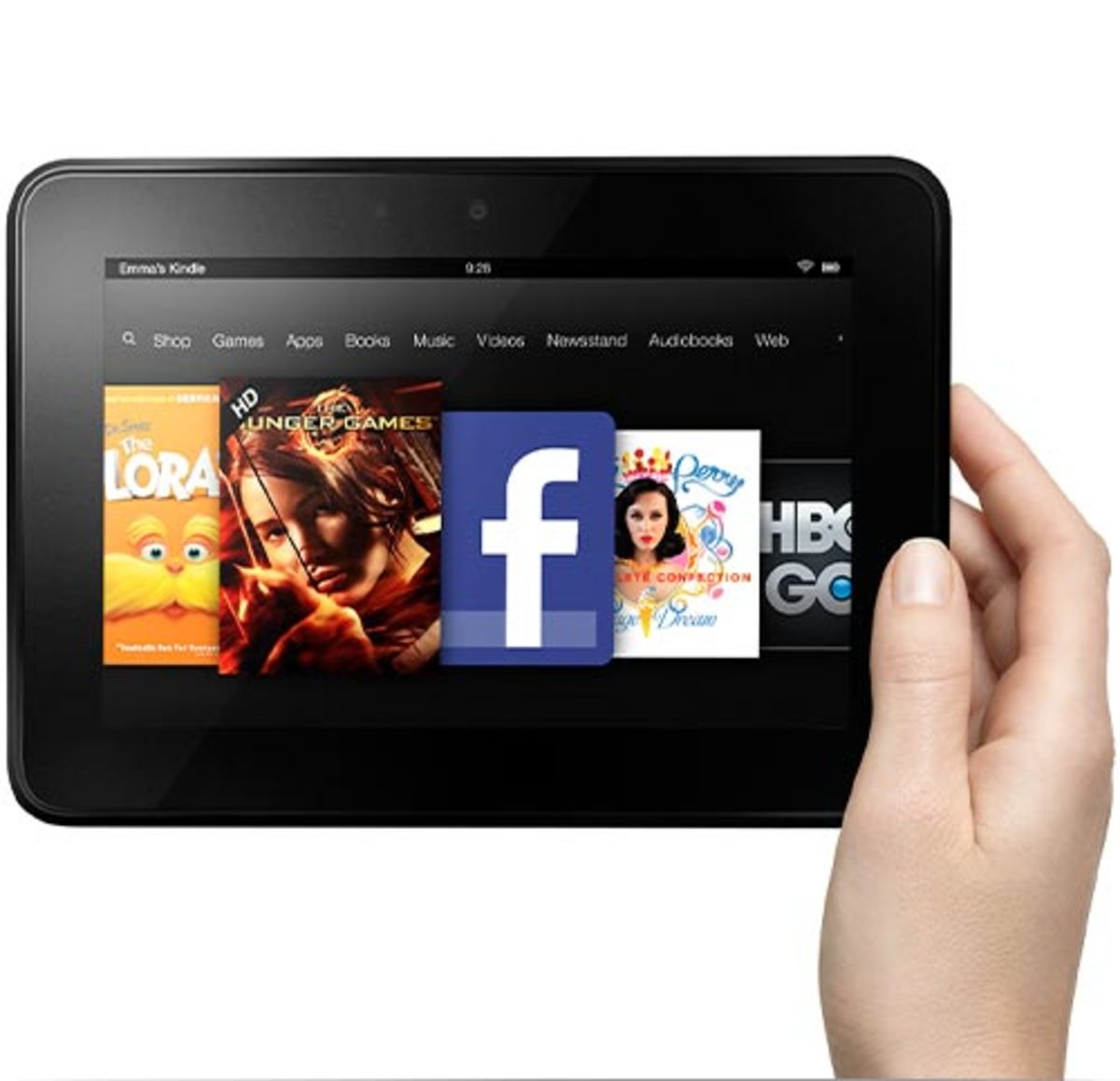 "The 7"" Kindle Fire HD features a 1280 by 800 display and Dolby audio."