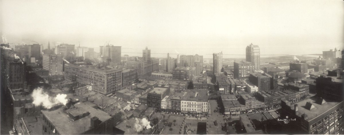 Panorama facing east from the top of the 231-foot tall Transportation Building, circa 1912. Click on photo for a larger view.