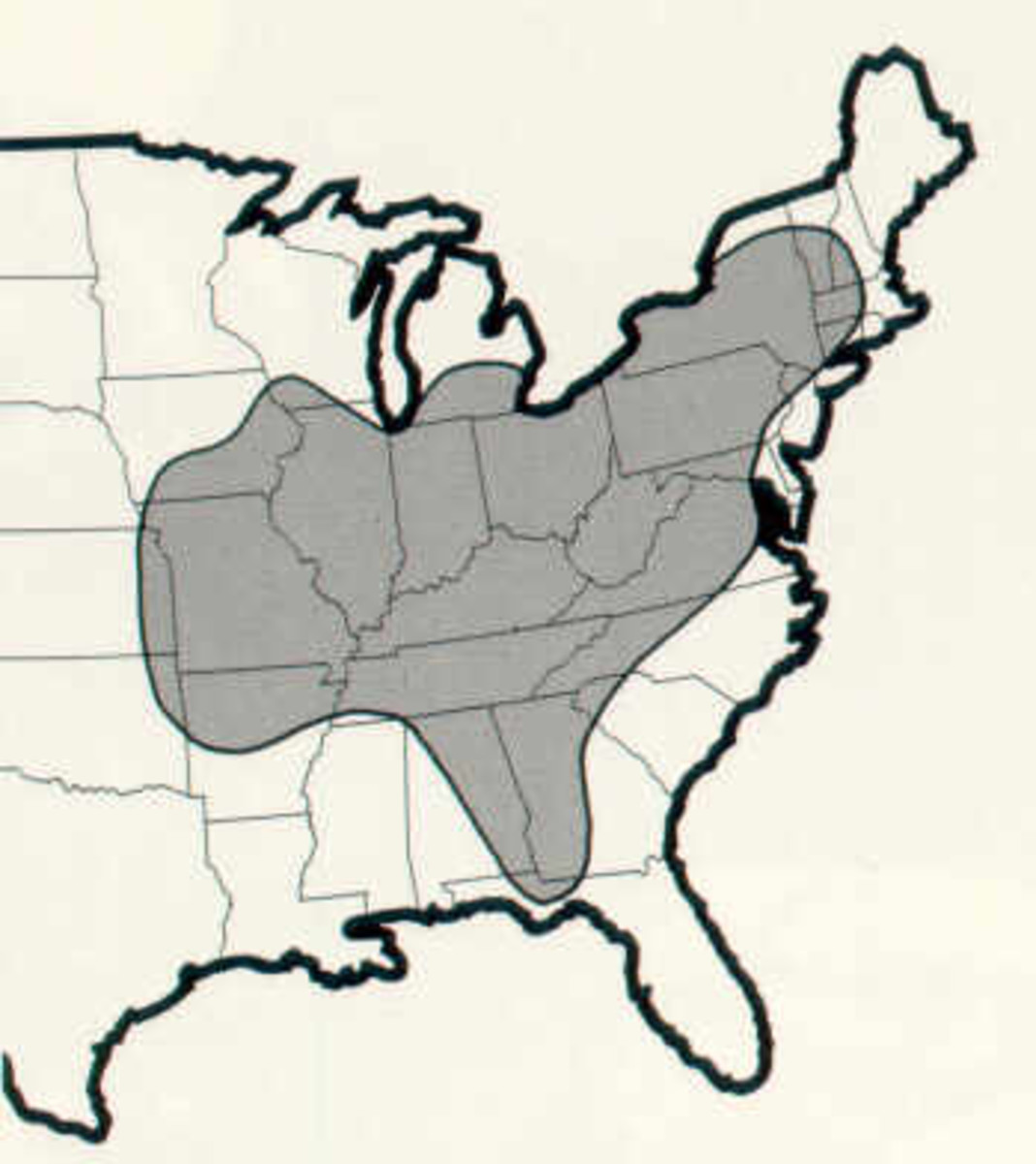 The range of the Indiana bat population.