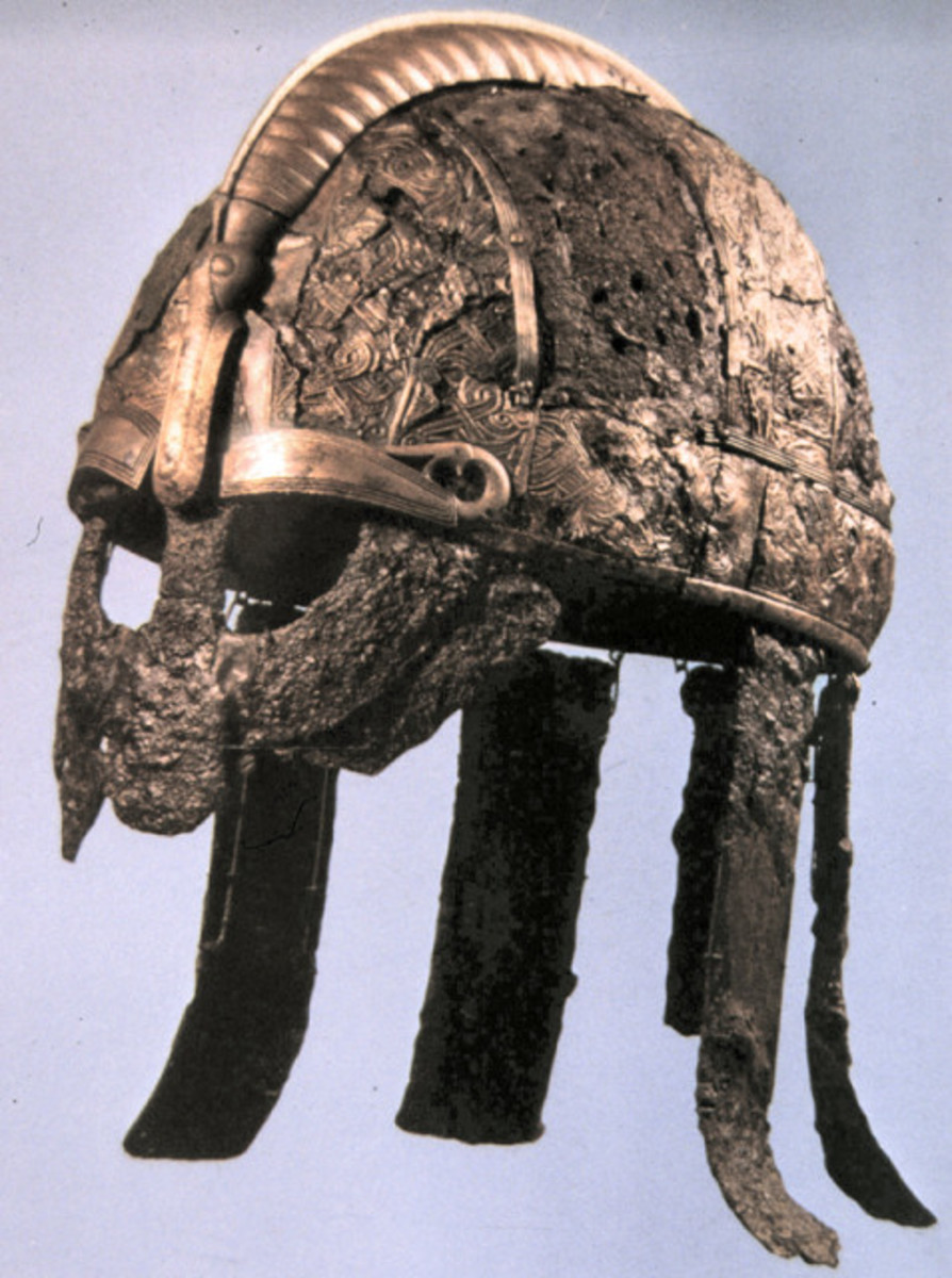 Early Viking Age Valsgaerde helm with its welded visor and neckguard strapping, found near Uppsala (North of Stockholm)
