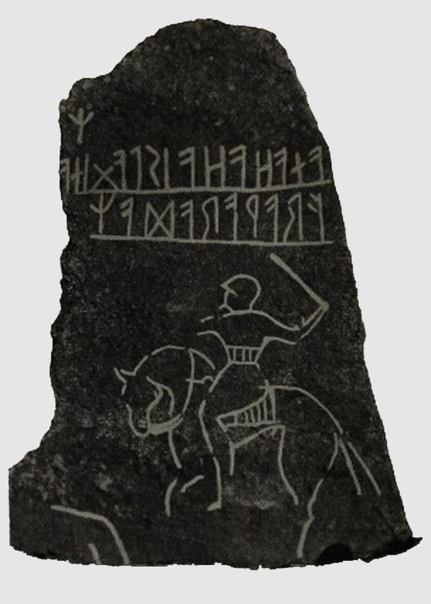 Memorial runestone - note the rider below the runes brandishing his sword, ready to strike