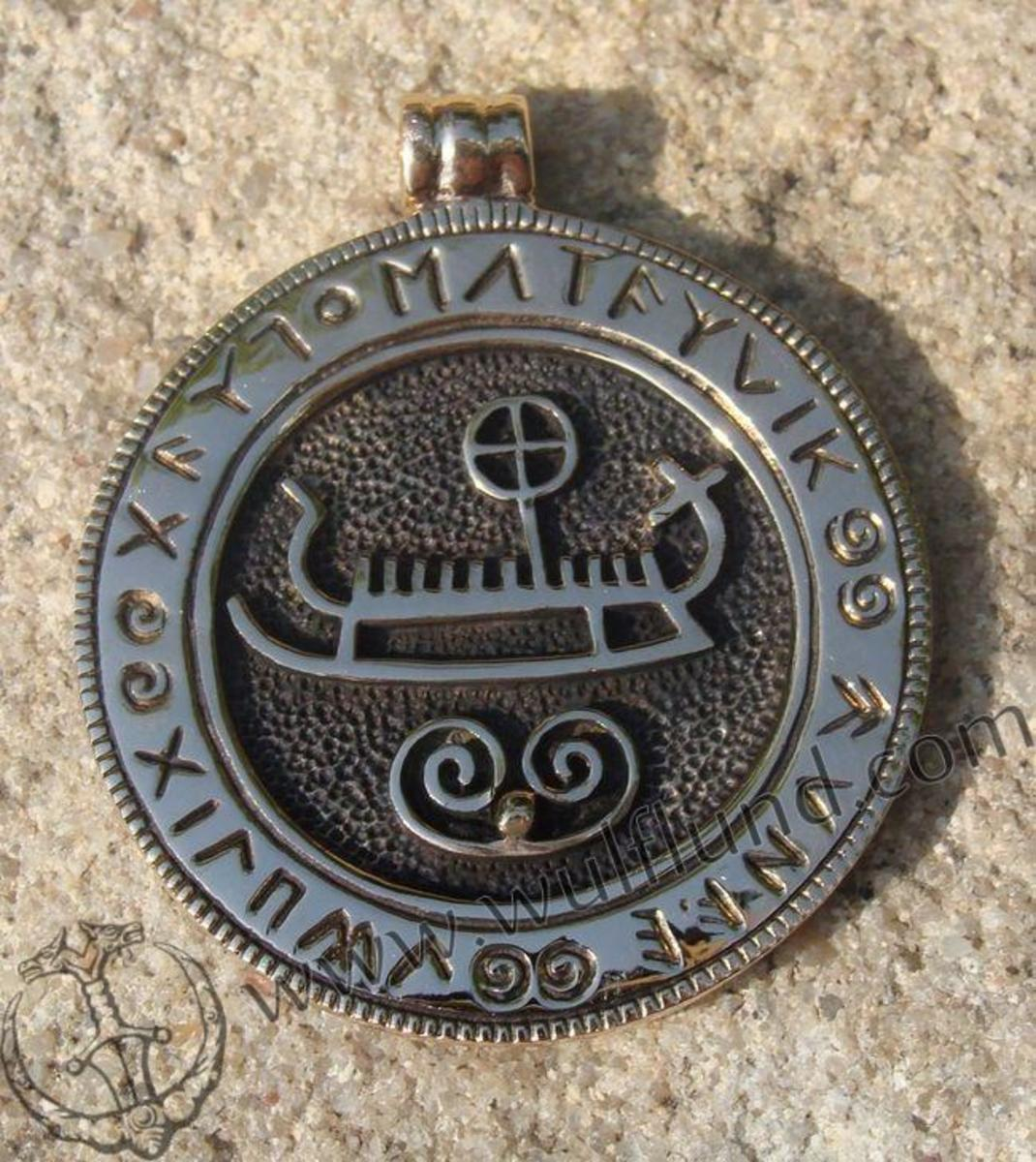 Modern reproduction Viking ship pendant with runes