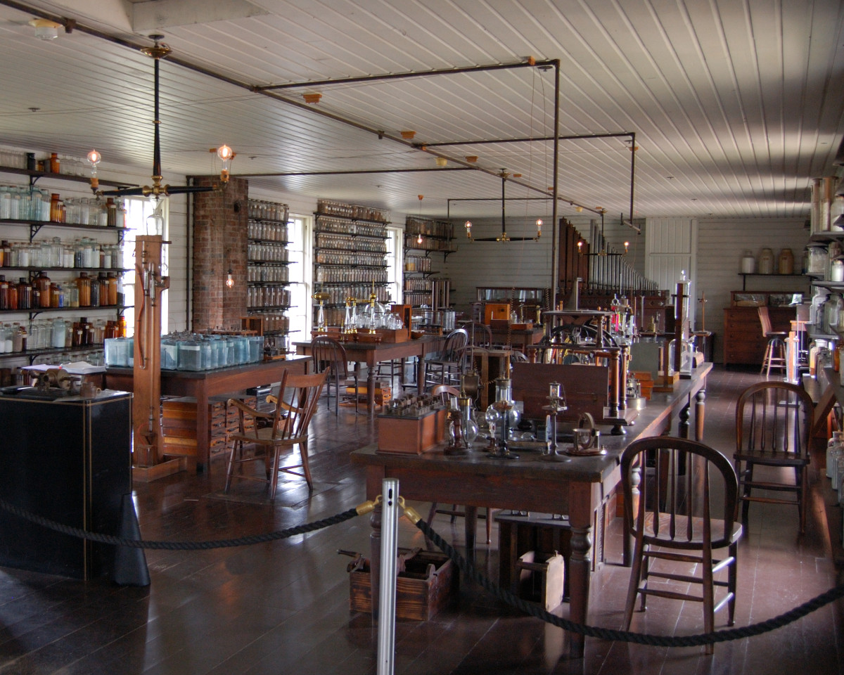 Upstairs at Thomas Edison's Menlo Park, New Jersey, Laboratory (replica buildings constructed in 1929 in Greenfield Village).